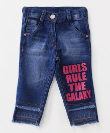 Little Kangaroos Adjustable Waist Jeans Girls Rule The Galaxy Print - Blue Pink