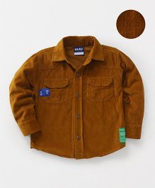 Little Kangaroos Full Sleeves Corduroy Shirt - Brown