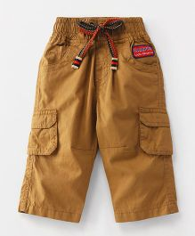 Little Kangaroos Full Length Pants With Drawstrings - Light Brown