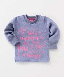 Little Kangaroos Full Sleeves Winter Wear Top Unicorn Print - Grey
