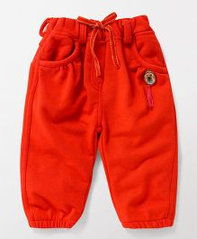 Little Kangaroos Lounge Pants With Kitty Print Brooch - Orange