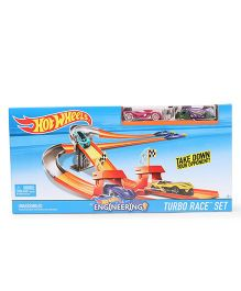 Hot Wheels Turbo Race Track Set With Car - Pink And Purple
