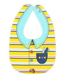 Little Hip Boutique Stripes Reversible Bow Bib - Yellow