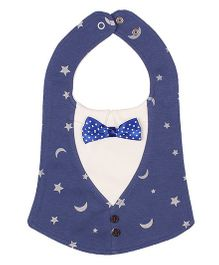Little Hip Boutique Moon & Star Button Bow Bib - Blue