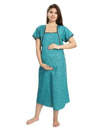 Eazy Short Sleeves Maternity Nursing Nighty Floral Print - Green