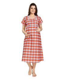 Eazy Mid Length Maternity & Nursing Nighty Checkered Print - Orange