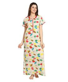 Eazy Short Sleeves Maternity Nursing Nighty Teddy Print - Red Beige