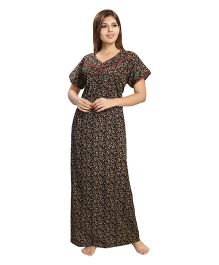 Eazy Floral Print Nursing Nighty - Black Pink