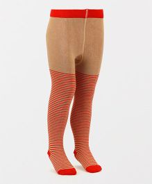 Mustang Footed Stocking Tights Stripes Design - Khaki