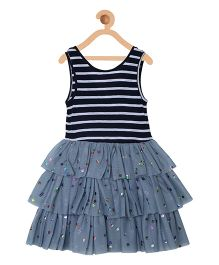 My Lil Berry Frilled Party Wear Dress Floral Print - Navy & Grey