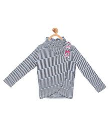 My Lil Berry Girls Stripes Wrap Cozy Top - Off White Grey