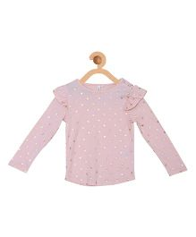 My Lil Berry Full Sleeves Hearts Print Top - Peach