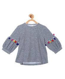 My Lil Berry Top With Lantern Shape Sleeves And Pom-Pom Details - Grey