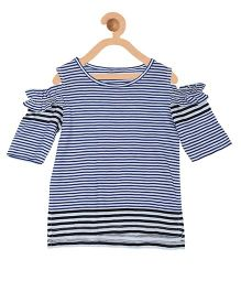 My Lil Berry Half Sleeves Cold Shoulder Stripes Top - White Navy