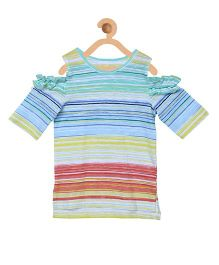 My Lil Berry Half Sleeves Cold Shoulder Stripes Top - Blue Multicolor