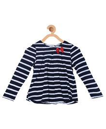My Lil Berry Full Sleeves Stripes Top With Bow Appliques - Navy