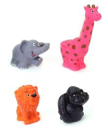 Speedage Animal Set Jr PVC Squeezy Toys Pack of 4 - Multi Color