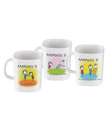 Servewell Epic Mug Set Multicolor Happiness Is Print - Set Of 3