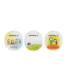 Servewell Round Coaster Set Multicolor Happiness Print - Set Of 6