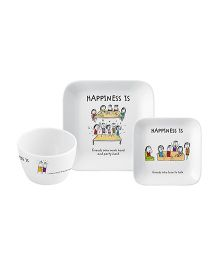 Servewell French Platter & Sydney Bowl Set Happness Is Print - Set Of 3