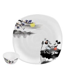 Servewell Plate & Bowl Set Mickey Mouse Print - Set Of 2