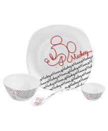 Servewell Dinner Set Mickey Mouse Line Art Print - Set Of 4
