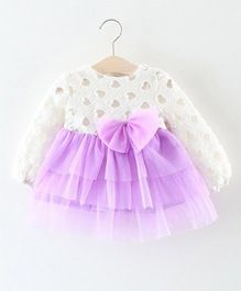 Dells World Heart Embroidery Frilled Dress With A Bow - Purple
