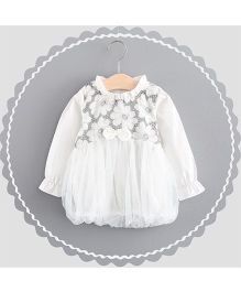 Dells World Flower Embroidered Dress - White