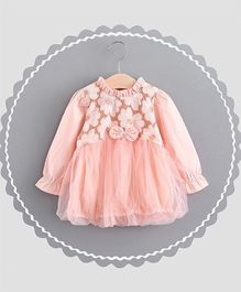 Dells World Flower Embroidered Dress - Peach