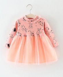 Dells World Adorable Cat Print Frilled Dress - Peach