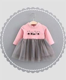 Dells World Panda Print Frilled Dress - Pink & Grey