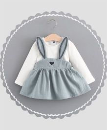 Dells World Rabbit Ears Designed Stylish Dress - Grey & White