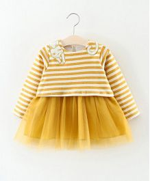 Dells World Fancy Stripe Design Frilled Dress - Mustard