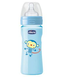 Chicco Feeding Bottle Monkey Print Blue - 250 ml