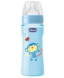 Chicco Well Being Polypropylene Fast Flow Feeding Bottle Blue - 330 ml
