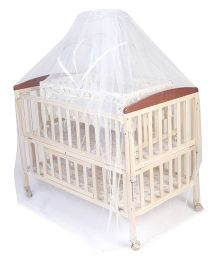 Mee Mee Baby Cot With Cradle & Mosquito Net - Cream