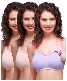 Inner Sense Antimicrobial Maternity Nursing Bras Pack of 3 - Skin Purple
