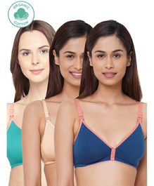 Inner Sense Antimicrobial Maternity Nursing Bras Pack of 3 - Skin Royal Blue Green