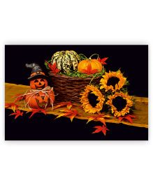 Ambbi Collections Table Mat Pumpkin Print Black - Pack of 6
