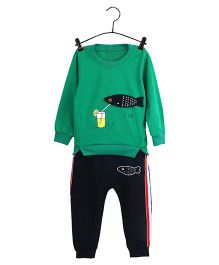Aww Hunnie Fish Design Sweat Shirt & Pants - Green