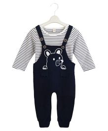 Aww Hunnie Basic Tee & Dungaree Set - Black