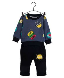 Aww Hunnie Multi Print Sweatshirt & Pants - Blue