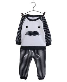 Aww Hunnie Striped Sweatshirt & Pants - Grey