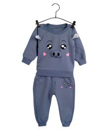 Aww Hunnie Piggy Face Design Sweatshirt & Pants - Grey