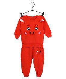 Aww Hunnie Piggy Face Design Sweatshirt & Pants - Red