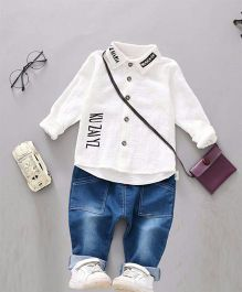 Aww Hunnie Smart Shirt & Denim - White