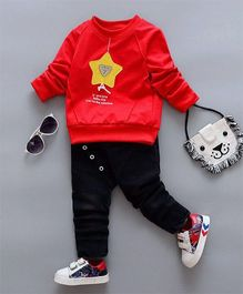Aww Hunnie Star Design Sweatshirt & Pants - Red