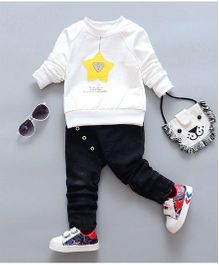 Aww Hunnie Star Design Sweatshirt & Pants - White