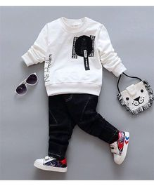Aww Hunnie Cool Sweatshirt & Pants - White