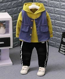 Aww Hunnie Striped Hoodie With Pants & Vest - Yellow
